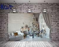 Kate Navidad fotografía fondos madera blanca chimenea foto de fondo árbol de Navidad pared de ladrillo para la familia contexto