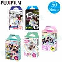 50 Fujifilm vitral + comic + correo aéreo + stripe + estrella brillante para Instax Mini 8 9 película fuji papel fotográfico instantáneo 70 7 s 50 s 50i 90 25