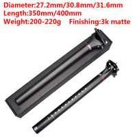 Tubo de fibra de carbono tija de sillín ultraligero asiento de bicicleta Post 27,2/30,8/31,6*350mm o 400mm para road Bike MTB ciclismo