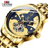 Caliente 2019 TEVISE hombres reloj automático mecánico relojes hombres negocios impermeable esqueleto Toubillon reloj de oro
