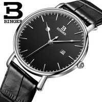 Nuevos relojes para hombre Suiza BINGER marca de lujo correa de cuero de cuarzo relojes de pulsera ultrafinos masculinos reloj impermeable B3053M-2