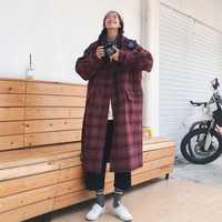 2018 nuevo abrigo de invierno de Corea Plaid abrigo de lana invierno mujeres caliente algodón acolchado escudo largo juego de la manera de las mujeres abrigo chaqueta X28