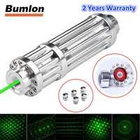 Láser azul verde 450nm puntero móvil Lazer Pen batería recargable foco ajustable con 5 estrellas tapas y caja RL3-0029