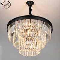 Europa Vintage Metal cristal K9 LED moderno Loft Chandelier Lustres luces E14 para salón dormitorio restaurante vestíbulo café