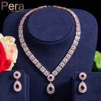 Pera CZ clásico de oro de Zirconia cúbica Color nigeriano boda Africana traje gran declaración conjunto de joyas con cristal rojo piedra J060