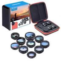 10 cajas/lot 10 en 1 lente del teléfono móvil de ángulo ancho de ojo de pez lentes Macro Universal venta al por mayor venta al por menor caja lente de celular
