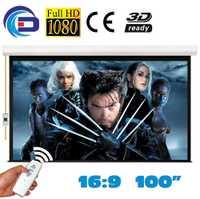 pantalla proyector 100 pulgadas 16:9 Pantalla de Proyección Motorizada Pantalla de Proyección eléctrica proyeccion Blanco Mate para LED LCD HD Película