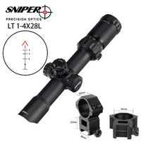 SNIPER caza Riflescope 1-4X28 vidrio grabado Chevron retículo larga del ojo al ocular visión óptica táctica RGB iluminado Rifle Scope