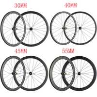 Freno de disco de ruedas de carbono/30/40/45/55 No superficie de frenado Centro cerradura bicicleta de carretera de carbono remachador las ruedas