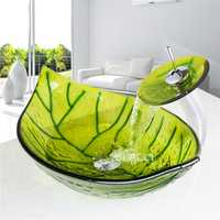 HS9006-1 encimera fregadero pintado a mano de vidrio templado lavabo del arte de alta calidad artística lavabo cuarto de baño con grifo lavabo