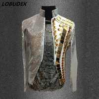 Gold mirror hombre blazers Shining Sequins chaqueta outwear ropa masculina singer dancer performance dress fashion nightclub Bar Outfit