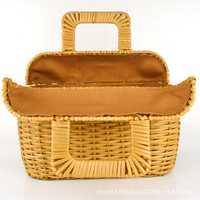 Nuevo anuncio playa picnic cestas de almacenamiento con mango paja canasta de almacenamiento