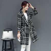 Lana de las mujeres mezclas abrigo invierno 2018 otoño alta calidad abrigo de lana mujeres largo Plaid Tweed chaquetas prendas de vestir exteriores de lana femenina verde