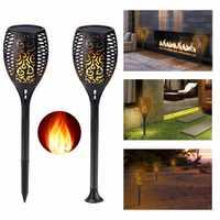4 piezas nueva luz Solar de llama lámpara Solar parpadeante lámparas LED solares paisaje jardín césped decoración exterior/interior