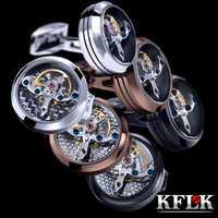 KFLK bijoux chemise bouton de manchette pour hommes Marque manchette bouton montre Mécanique mouvement manchette lien haute qualité Tourbillon Livraison Gratuite