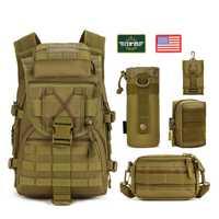 5 unids/set Molle mochila táctica militar mochila impermeable nylon viaje deporte bolsa al aire libre Camping senderismo escalada mochilas