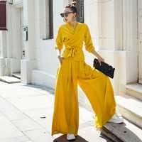 VERRAGEE otoño nueva mujeres conjuntos de color sólido amarillo alta calle tres cuarto manga cuello en V vintage suelto patrón conjuntos