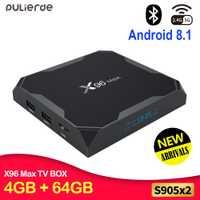 PULIERDE X96MAX 4 GB 64 GB Android 8,1 TV BOX Amlogic S905X2 4 K H2.65 1000 M 2,4 GHz/ 5 GHz WIFI Smart Set-top box reproductor de medios BT4.0