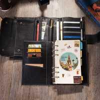 2019 viajes diario cuero personalizado Notebook con anillo Binder mejor regalo para hombres y mujeres organizadores personales diario planificador escribir en a6