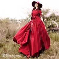 [De Lynette chinoiserie-boshow] primavera Venta caliente diseño original mujeres retro asimétrico Delgado Trencas estilo vestido de pana
