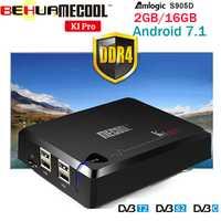 MECOOL KI PRO TV Box KI PRO S2 con T2 DVB Amlogic S905D Quad 2G + 16G apoyo DVB-T2 y S2/DVB-T2/DVBS2 Set Top Box Android TV Box