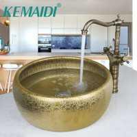 Kemaidi lujo baño ronda pintura antiguo cuenco de oro cascada cuenca champú grifo del fregadero sola manija montado cubierta