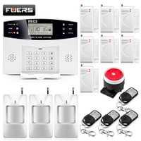 Sistemas de alarma de seguridad para el hogar de Metal Control remoto de voz inalámbrica sensor de puerta de la pantalla LCD cable sirena Kit SIM GSM SMS alarma