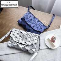 MANSURSPACE luminoso bao bolsa mensajero de las mujeres bolsos de hombro para las mujeres Casual PVC lentejuelas Fold Bolsos Bolso geométrico