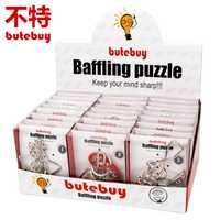 Butebuy 24 unids/set desconcertante puzzl metal Alambres puzzle IQ mente Brain teaser Rompecabezas juego para adultos niños regalo placa juego