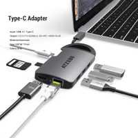 USB C 8-en-1 USB C a HDMI RJ45 Thunderbolt 3 adaptador para MacBook Samsung Galaxy s10 Huawei Mate 20 P20 Pro tipo C Hub USB