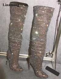 Nuevo diseño de moda de las mujeres del dedo del pie puntiagudo Bling sobre la rodilla de diamantes de imitación botas cristal largo botas tacón alto botas de tacón fino botas