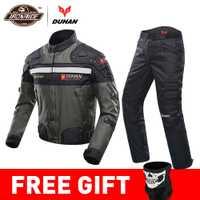 DUHAN a prueba de viento de la motocicleta traje de carreras de equipo de protección armadura chaqueta de la motocicleta de + de la motocicleta pantalones Hip Protector Moto ropa conjunto