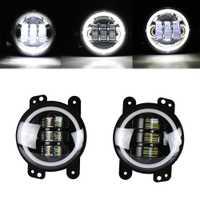 Modoao 2 piezas LED antiniebla vehículo lámparas 30 W 4 pulgadas SUV luces de niebla de Ojos de Ángel LED de luces de niebla 6000 K a prueba de agua