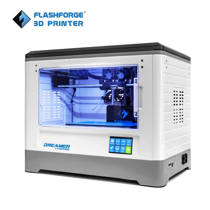 XNX US $599.00 Flashforge 3D Printer 2019 FDM Dreamer Dual color print WIFI and touchscreen W/2 Spool Fully Assembled 3D Drucker