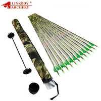 Linkboy 12 Uds tiro con arco Spine400 flechas de carbono con camuflaje 2 ''Vane flecha Nocks + 1 Uds flecha titular tubo compuesto, Flecha de caza