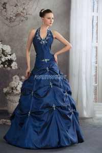 Nueva caliente azul rebordear fantasias tamaño personalizado hecho a mano novia Cenicienta cristal decoración Prom Madre de los vestidos de la novia
