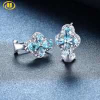Pendientes de Clip de Topacio Azul Hutang piedra preciosa Natural Plata de Ley 925 fina joyería de piedra de moda para el mejor regalo de Navidad