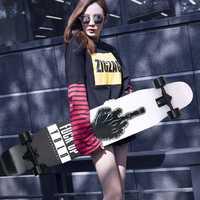 Patineta profesional Canadiense Maple Lonboard Skate 4 ruedas Downhill Street Dance Board Roller Drift-Board 107 y 117 cm