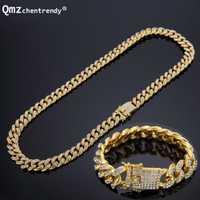 Conjunto de joyería de Zirconia cúbica CZ de moda de Hip hop, joyería de plata dorada, collares de eslabones de cadena cubana, pulseras, cierre de caja, conjuntos de Cubra Miami