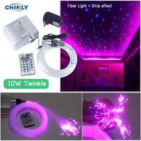 10 W effet scintillant LED Fiber optique étoile plafonnier RGBW Fiber optique moteur RF télécommande Fiber optique voiture étoilée lumières