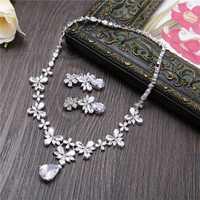 De Lujo Zirconia cúbica joyería de pera pendientes COLLAR COLGANTE Charms flor pendientes de boda mujeres regalos