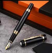 Pluma de héroe NOBLE clásico negro y dorado Clip Oficina caja de regalo caligrafía iridio nibs con mb stylo en la tapa
