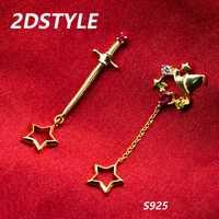 Gryffindor espada pendiente de plata 925 de Harry Potter accesorios de la joyería de las mujeres de moda de Señora Estrella Stud pendientes niña regalo