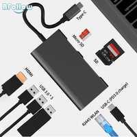BFOLLOW 8 en 1 para Huawei PC modo amigo 20 P20 Pro adaptador de tipo C a HDMI USB-C USB 3,0 lector de tarjeta SD Centro PD 3,0 Pantalla de espejo