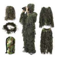 Traje de Ghillie de bosque ropa de caza Camo uniforme del ejército chaqueta de Camuflaje Multicam pantalones sombrero pistola cuerda Camuflaje trajes camiflaje