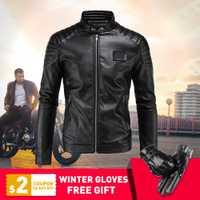 Nueva motocicleta PU chaqueta de cuero de los hombres Vintage Retro Moto Faux Punk chaquetas de cuero de la motocicleta ropa abrigos Slim tamaño M-5XL