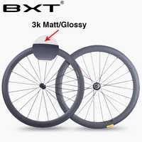 BXT china 50mm 700C carbono bicicleta de carretera ruedas 23mm ancho 3 K mate brillante chino fibra de carbono bicicleta ciclismo carreras juego de ruedas