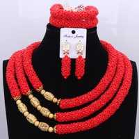 Boda del oro de Dubai conjunto rojo para las mujeres nupcial joyería del Oro africano 3 capas joyería India set envío libre 2018