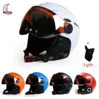 Luna profesional medio cubierta CE casco de esquí moldeado integralmente deportes hombre mujer esquí cascos Snowboard gafas máscara