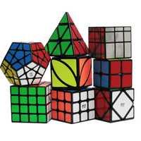 D-Fantix Zcube 8 pièces Magique Cube Ensemble 2x2x2 3x3x3 4x4x4 Dodécaèdre Skew FengYe Skew Pyramide Miroir Vitesse Cubes Foncé Autocollant